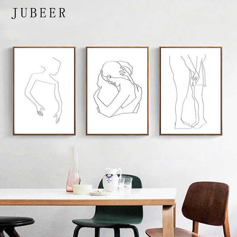 Loving Couple Set of 3 Prints Line Drawing Woman Wall Art Decorative Painting Black And White Posters and Prints for Bedroom