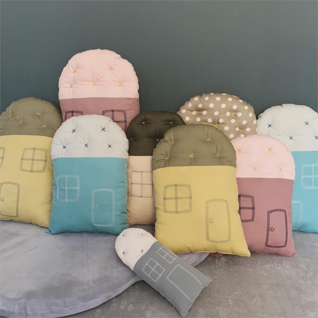 Baby Pillow Cotton Cartoon Small House Pillow Newborn Crib Bumper Baby Toy Children s Room Decorate