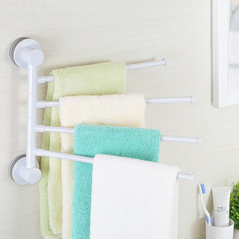 Four Arm Towel Holder Rotating Towel Rack Waterproof Bathroom Kitchen Wall-mounted Towel Hanger Plastic Suction Cup Towel Bar