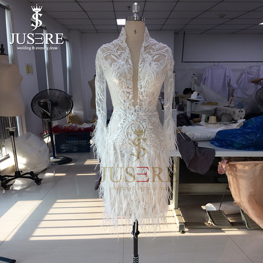 Customize Knee Length Fit Wedding Dresses Real Customer Photo Long Sleeves Illusion Lave With Feathers Bridal Gowns
