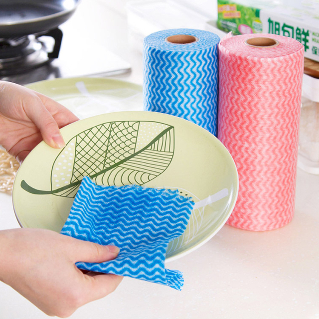 1 Roll Disposable Striped Cleaning Cloth For Kitchen Non-woven Fabrics Washing Towels Eco Friendly Rags Wiping Souring Pad