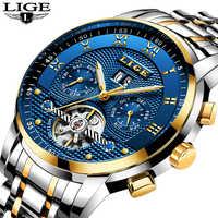 Reloj Masculino LIGE relojes para hombre marca de lujo reloj mecánico automático de los hombres de acero completo negocio deporte impermeable Relojes