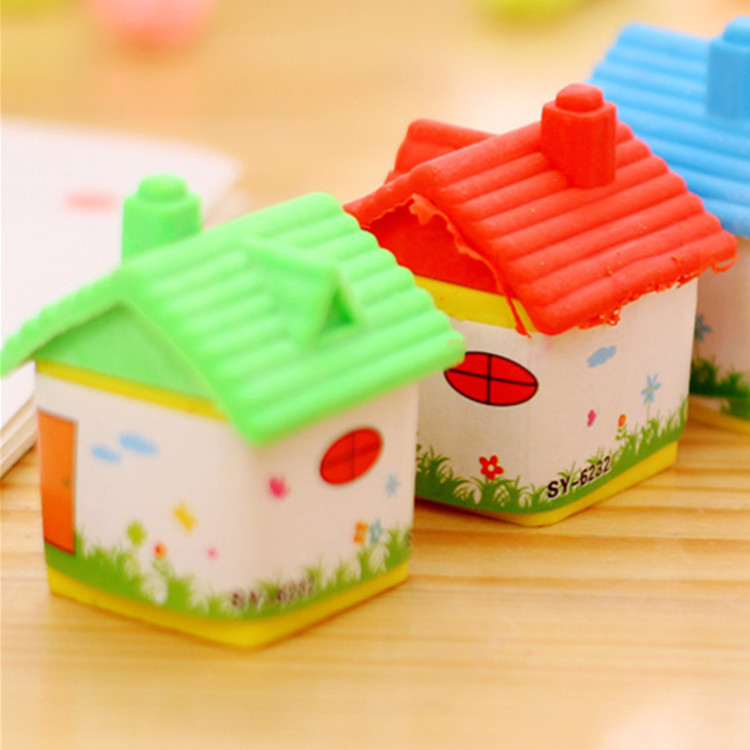 4 Pcs Cute Small House Eraser Korean Creative 3d Cartoon Rubber Children Stationery Wholesale Kawaii School Supplies Eraser Kids