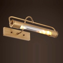 European Waterproof Rustproof LED Mirror Light American brass Copper Bathroom Cabinet Lamp Wall Light Indoor LED Sconce Lighting недорого