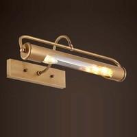 European Waterproof Rustproof LED Mirror Light American brass Copper Bathroom Cabinet Lamp Wall Light Indoor LED Sconce Lighting