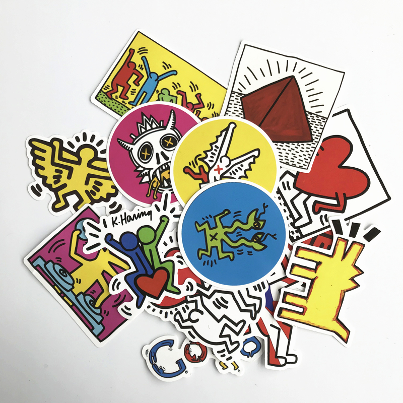 TD ZW 14Pcs/Lot Keith Haring Stickers For Decal Snowboard Laptop Luggage Car Fridge Car- Styling Sticker Pegatina