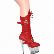15cm sexy ladies Fashion buckle PU leather knee high boots winter 6 inch platform high heel boots for women Fetish Dance Shoes