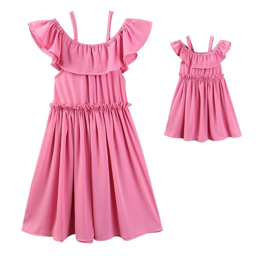 Criança pai roupas cinta rosa mãe de família mãe roupas vestido ...