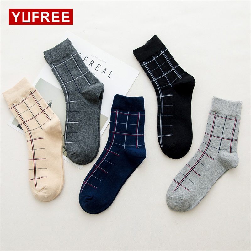 YUFREE Autumn Winter High Quality Men Brand Business Cotton Socks For Man Diamond Plaid Long Socks Male Crew Sock 1 pair WA-62