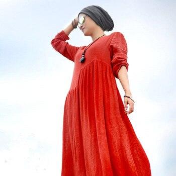 2019 Outono casuais solta de manga comprida vestido maxi, plus size S-5XL 6XL Longa das senhoras do vintage vestido Dos Muçulmanos, lençóis de algodão vestido longo