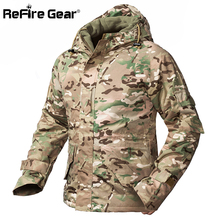 ReFire Gear Winter Camouflage Tactical Jacket Men Waterproof Warm Thick Fleece Liner Windbreaker Hooded Army Field Military Coat