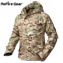 ReFire Gear Winter Camouflage Tactical Jacket Men Waterproof Warm Thick Fleece Liner Windbreaker Hooded Army Field Military Coat