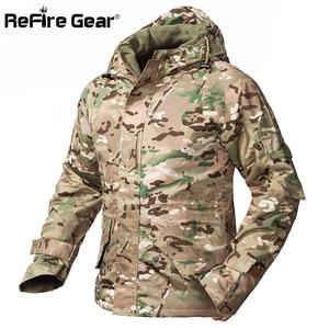 Image 1 - ReFire ציוד חורף הסוואה טקטי מעיל גברים עמיד למים חם עבה אוניית צמר מעיל רוח סלעית צבא שדה צבאי מעיל