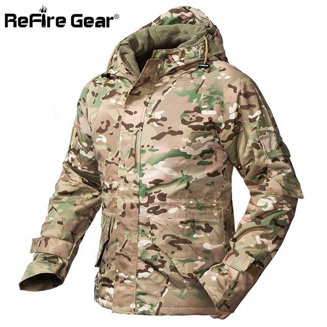 ReFire ציוד חורף הסוואה טקטי מעיל גברים עמיד למים חם עבה אוניית צמר מעיל רוח סלעית צבא שדה צבאי מעיל