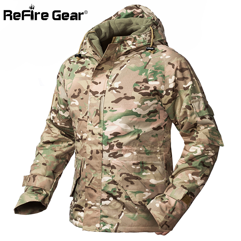 Refire gear 겨울 위장 전술 재킷 남자 방수 따뜻한 두꺼운 양털 라이너 윈드 브레이커 후드 육군 필드 군사 코트-에서재킷부터 남성 의류 의  그룹 1