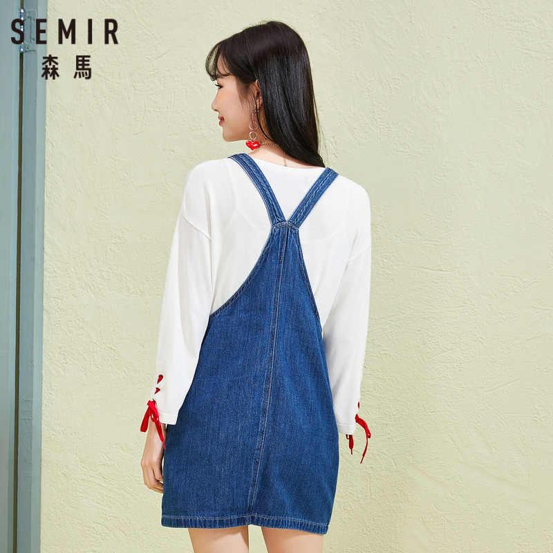 SEMIR женское джинсовое платье-комбинезон из 100% хлопка с принтом спереди, на молнии, комбинезон, платье с регулируемым ремешком и нагрудным карманом