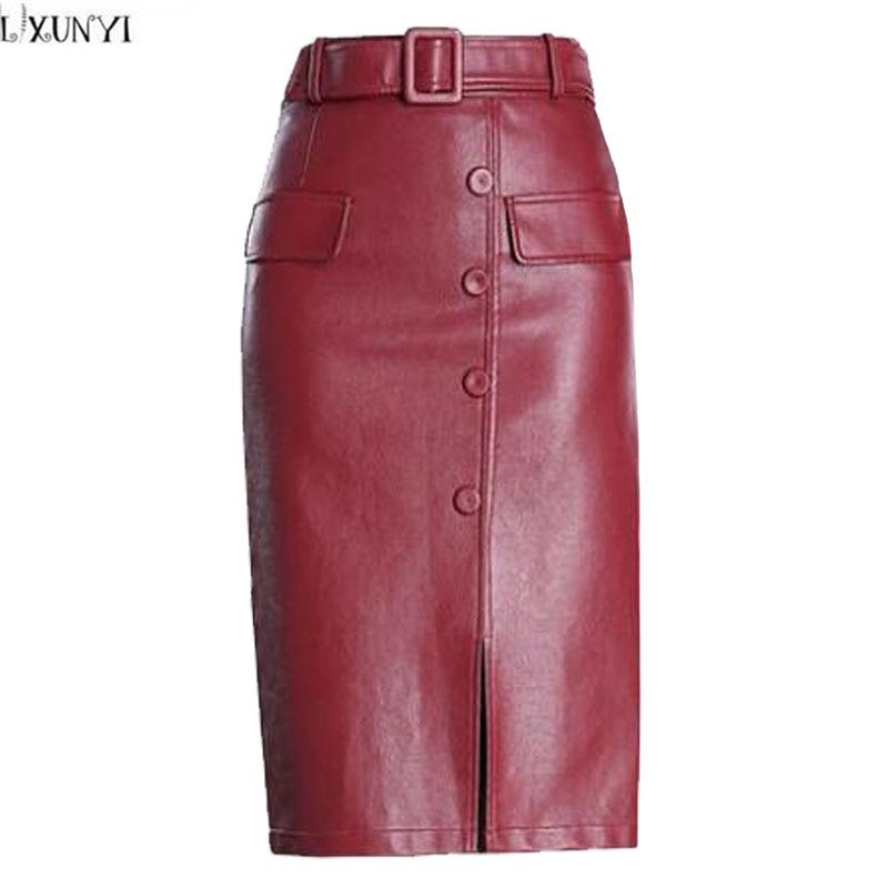 04806ef28da LXUNYI PU Leather Skirt Women Autumn Winter Korean Fashion Plus Size High  Waisted Skirts Womens Midi