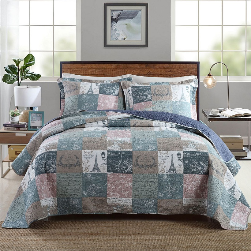 Summer Bedspread /& 2 Pillowcases Bedding Duvet Throw Quilted Embossed King Bed