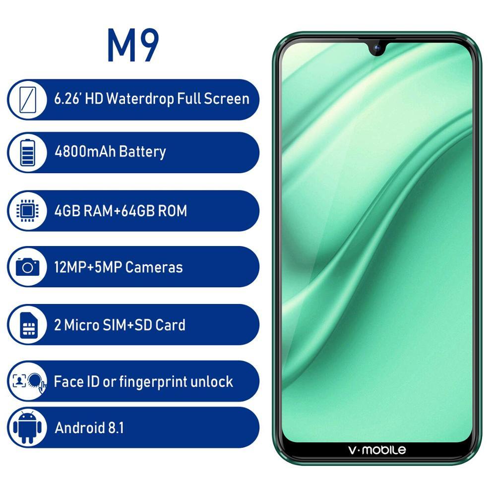 "TEENO Vmobile M9 Mobile Phone Android 8.1 4GB+64GB 6.26"" HD Full Screen 4800mah 4G Celular Fingerprint Smartphone Unlocked Cell"