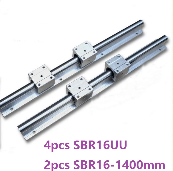 2pcs SBR16 16mm -L 1400mm support rail linear guide + 4pcs SBR16UU linear blocks beairng CNC router linear rail кроссовки catisa catisa ca072awdsuq1