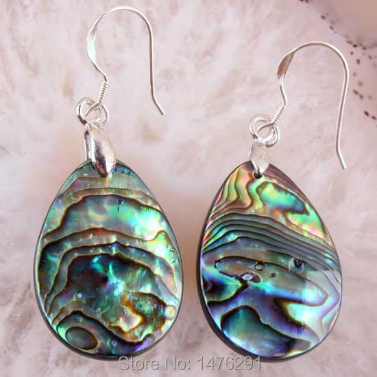 Abalone Shell Teardrop Dangle Earring Silver Plated 1 Pair
