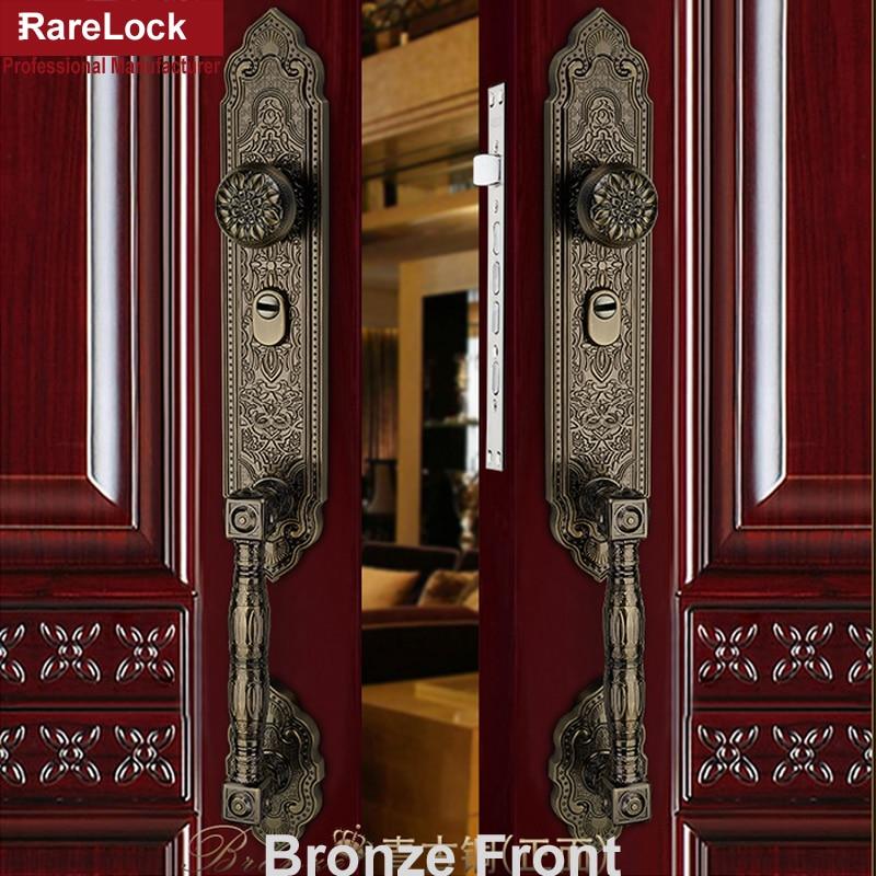 Rarelock Christmas Supplies Luxurious Handle Door Lock For Bedroom Dining Room Meeting Retro Decorative Pattern