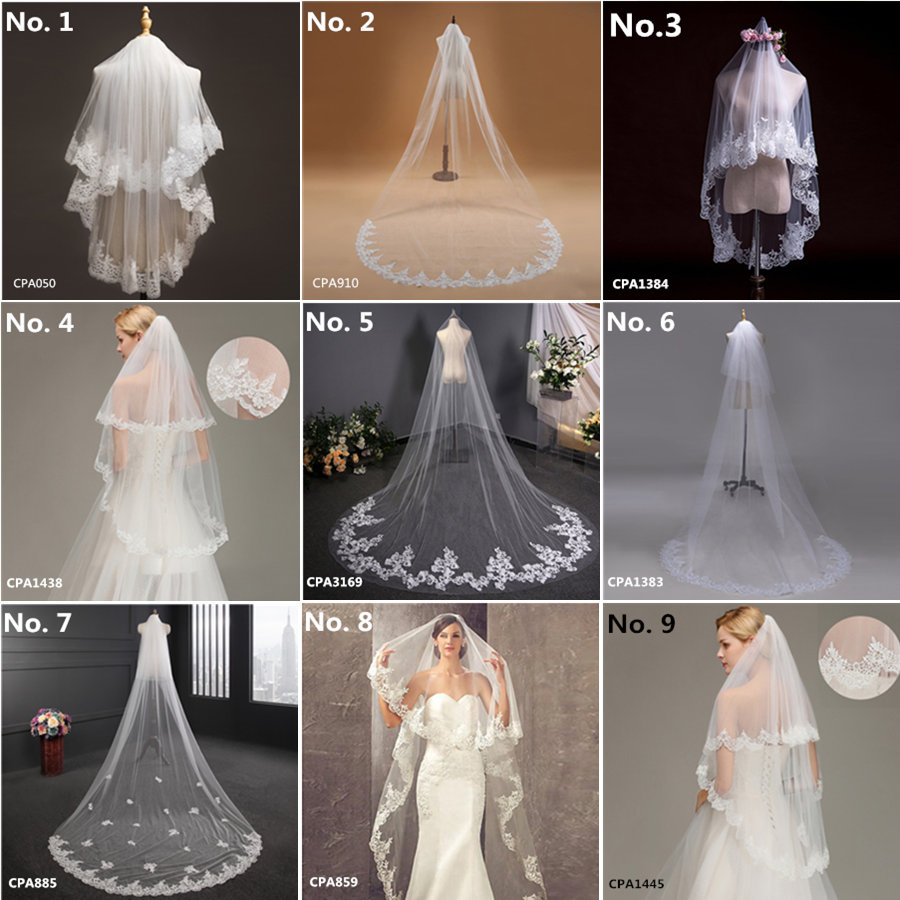 Voile Mariage White Wedding Veil Long Ivory Short Bridal Veils Lace Appliqued Edge Cathedral Wedding Veil Wedding Accessories