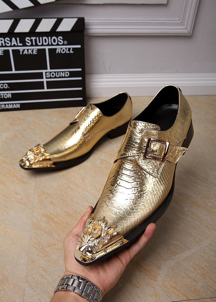 CH.KWOK Gold Italian Men Shoes Leather Pointed Toe Buckle Slip On Business Wedding Shoes Zapatos Hombre Mens Dress Shoes shoes men black dress shoes genuine leather pointed toe metalic slip on business men shoes for wedding party zapatos hombre xxz5
