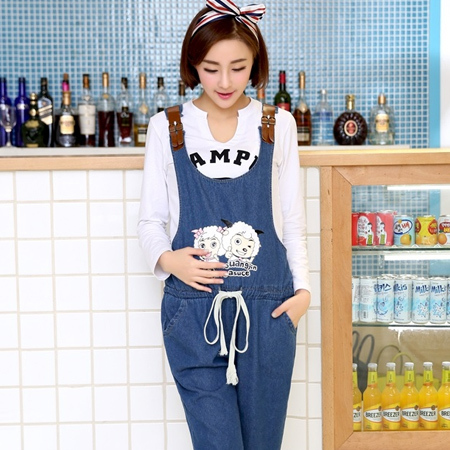 08c51faa0947c Blue Denim Jumpsuit For Pregnant Women Maternity High Waist Denim Suspender  Jeans Overalls Pregnancy Causal Bib Pants Rompers-in Jeans from Mother &  Kids
