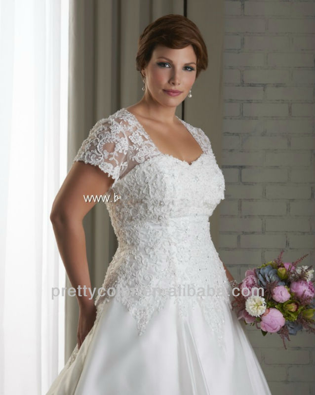 Sweetheart Neckline Cap Sleeve With Short Sleeves Plus Size Bridal