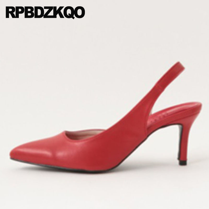 Strap Thin Cool Shoes 11 43 Sandals Size 33 Italian Pointed Toe Red Stiletto Heels Medium Plus Pumps High Slingback Brown 12 44 women office shoes solid color fashion pointed toe stiletto high heels elastic band ankle strap slingback sandals pumps leather