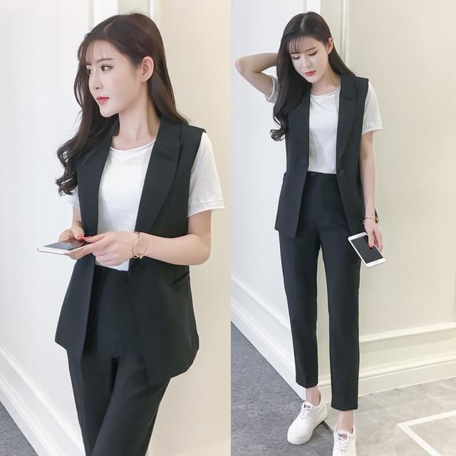 40fd38787d Professional suit female 2018 summer new fashion small incense wind suit  vest + pants + T shirt three pic/ sets