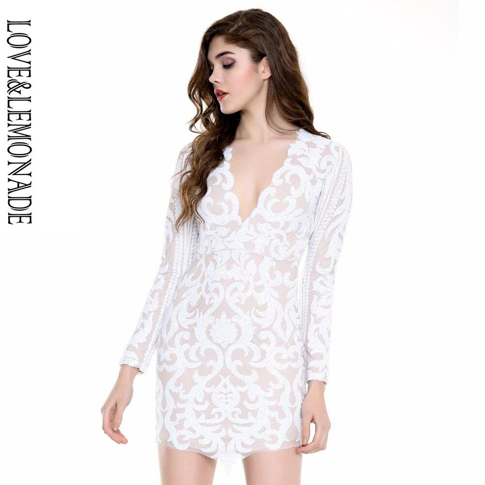 Amor & Limonada Geométrica Lantejoulas V-pescoço Vestido Branco/Preto TB 9959 Outono/Inverno