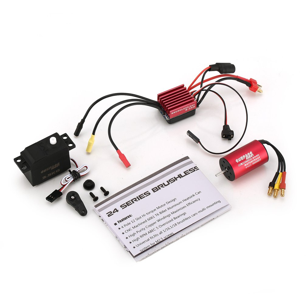 SURPASSHOBBY S2440 4000KV Brushless Motor S-35A ESC with 3.5kg Servo Brushless Combo Set for 1/16 1/18 RC Car Truck ModelSURPASSHOBBY S2440 4000KV Brushless Motor S-35A ESC with 3.5kg Servo Brushless Combo Set for 1/16 1/18 RC Car Truck Model