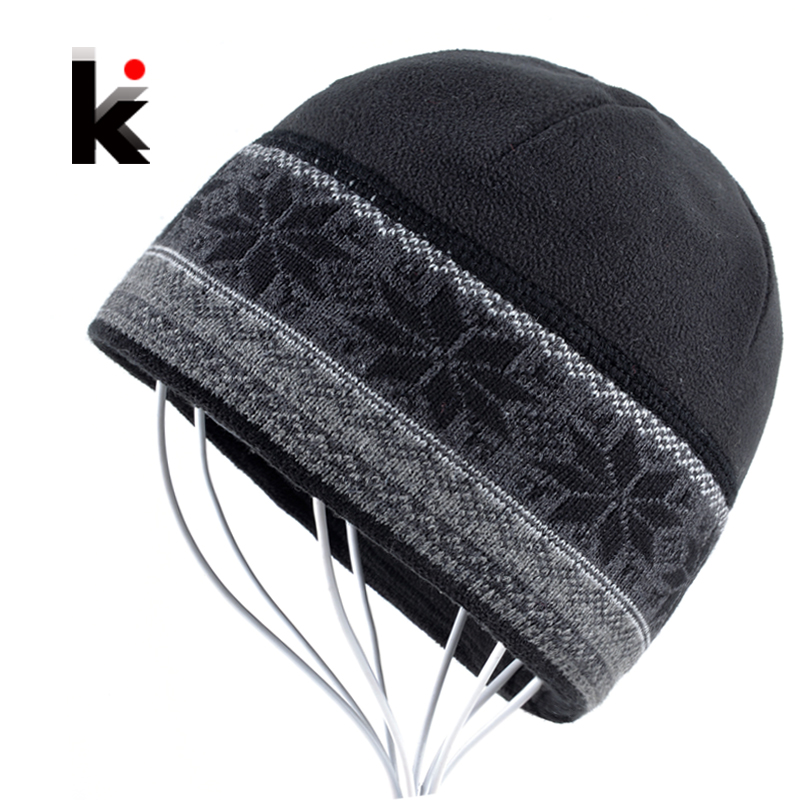 Mens Skullies Skating Thicker Snowflake Designer Beanie Hat Knitted Boy Caps Bonnet Beanies Winter Plush Cap Hats For Men skullies