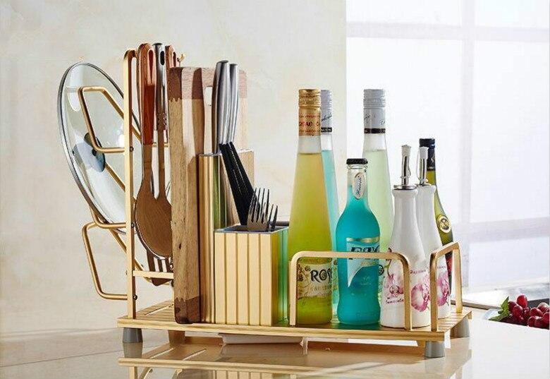 Multi-fonction Coooking outils stockage étagère Pot Pan couverture planche à découper cuisine porte-couteau Rack couvercle Rack épices bouteille étagère