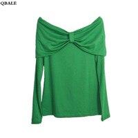 Spring Autumn Long Sleeve Shirt Women Slim Fit Front Back Double Big Bowknot Design Slash Neck