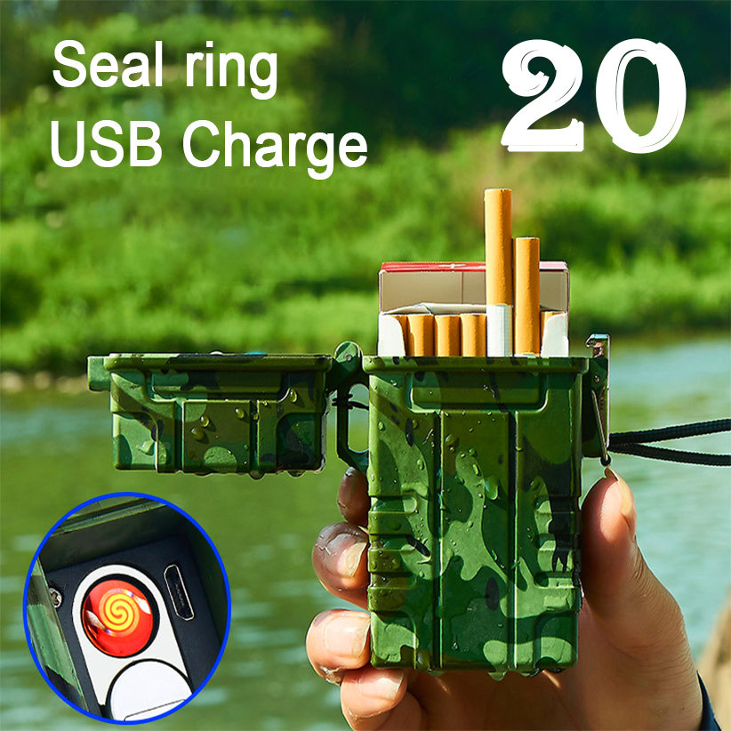 20pcs Capacity Cigarette Case with USB Electric Plasma Lighter Creative Outdoor Waterproof Box Electronics Gadgets For Men