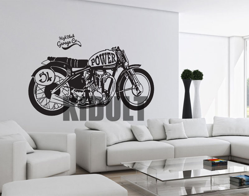 motorcycle wall stickers vinyl creative plane wall painting decorative wallpaper household bar. Black Bedroom Furniture Sets. Home Design Ideas