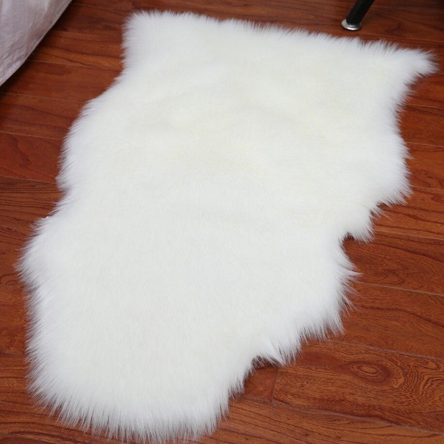 Tapis doux maison en peau de mouton chaise couverture tapis laine artificielle plaine moelleux tapis chambre couverture tapis pour enfants salon Tapete - 5