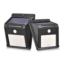 2Pcs LED Solar Light Outdoor Wireless 20 Led PIR Motion Sensor Garden Lights Waterproof Patio Solar