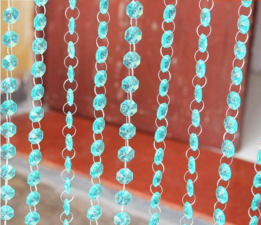 Bead curtain crystal partition curtain finished product crystal bead - Imitated Crystal Acrylic Plastic Octagon Bead Curtain Porch Hang Shade Partition Diy Wedding Road Led Products