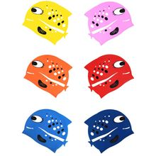Children Kids Unisex Waterproof Silicone Swim Cap Bright Colored Cartoon Fish Shark Shaped Anti-Slip Ears Protector Swimming Hat
