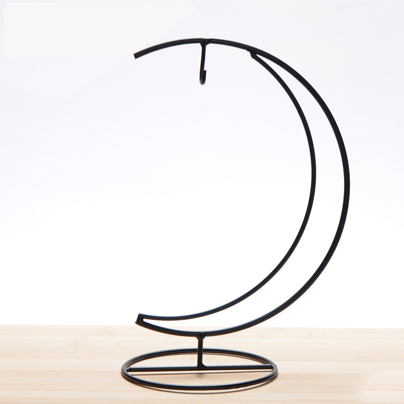 1 Piece Fashion Hand-made Iron Moon Shape Wedding party Candle Holder Candlestick Glass Ball Lantern Hanging Stand image
