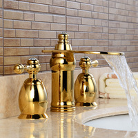 Basin Faucets Brass Luxurious 3 Hole Waterfall Basin Taps Gold Finish Bathroom Sink Mixer Tap Hot and Cold Wash Faucet LH 16832