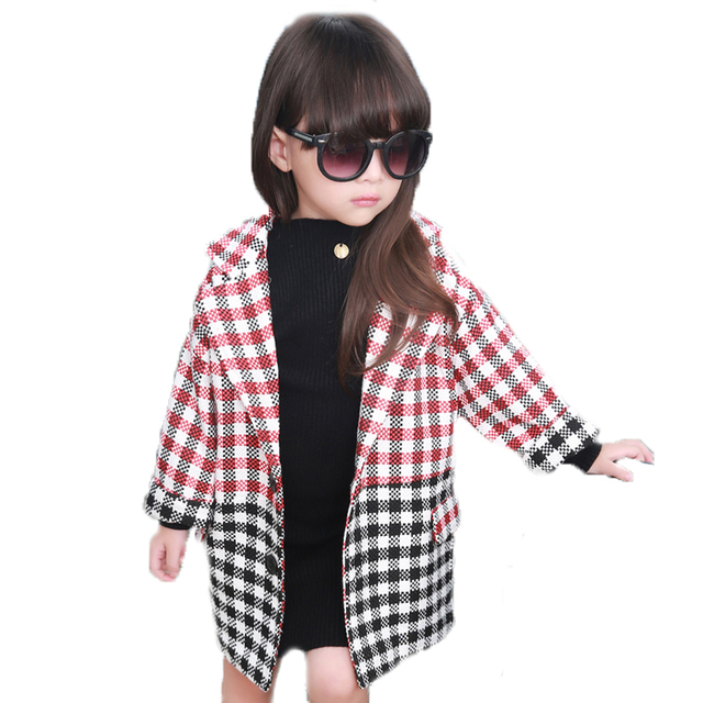 2017 New Brand Designer Winter Girls Coats And Jackets Baby Clothes Patchwork Plaid Wool Jackets Kids Long Single-breasted Coat