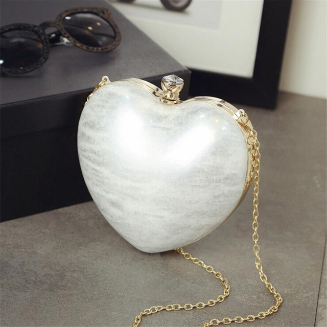 2016 soid color Acrylic love heart shape chain bag women mini pourse phone package Crossbody Bag ladies dinner party handbags