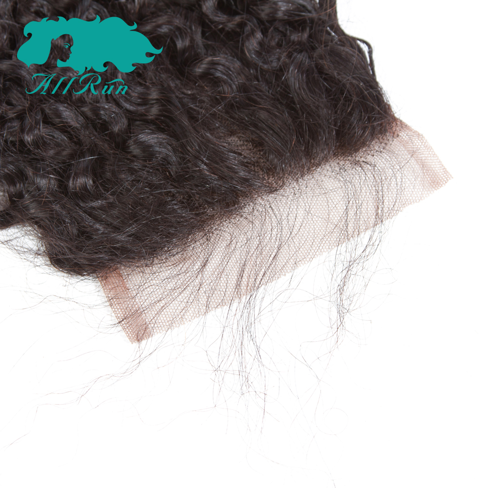 Allrun Curly Wave Indian Hair Weave 3 Bundles With Closure Free Part 100% Non Remy Human Hair