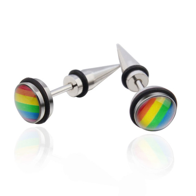Fashion Jewelry Mens Boys Guys Womens Stainless Steel Cool Unique Round Rainbow Colorful Enamel Stud Earrings