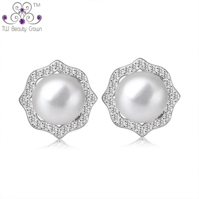 Verdadeiro 925 sterling silver micro pave branco zirconia luxo natural de água doce brincos de pérola do parafuso prisioneiro para as mulheres da moda festa de jóias